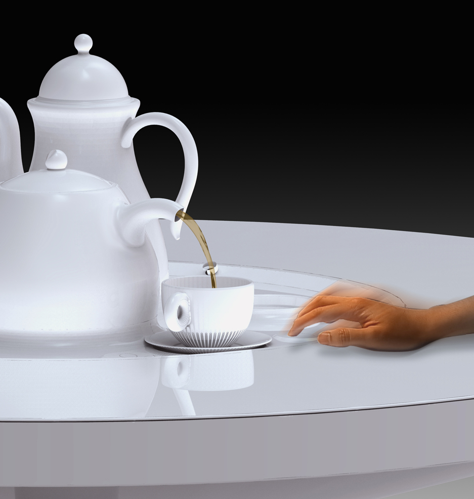 Double tap to dispense COFFEE or TEA!   This gesture is inspired from a blackjack player tapping the table to ask for more cards and from Cantonese table etiquette where they tap the table as a way to politely say thank you when their being served tea while their mouth is full.