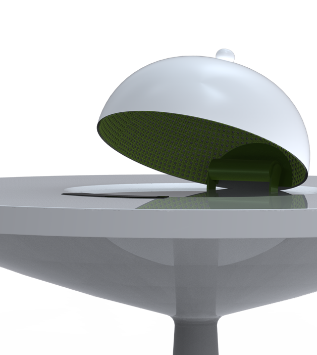 MICROWAVE dome.   The gourmet dome archetype was chosen for its common associatition to good food. An infrared cooking technology that works similarly with microwave was chosen over designing a vending machine that spits out food because we wanted people to enjoy fresher food that we don't believe a vending machinge can provide.