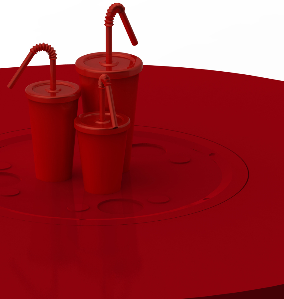 SODA AND JUICE...   Soda cups were chosen as the shape of the soda and juice vending table because it reminds people of its fun and light heartedness. On top of this, it also easily communicate it's function.  Similar coffee table dispensing interaction is also used for the Soda table.