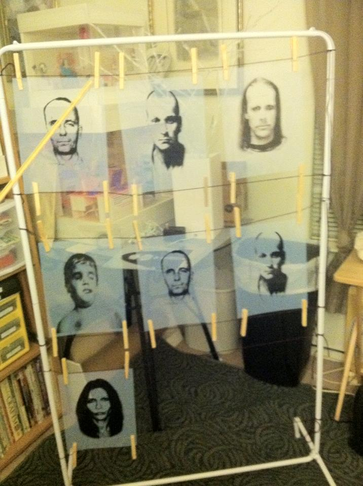 Printed images hanging to dry.