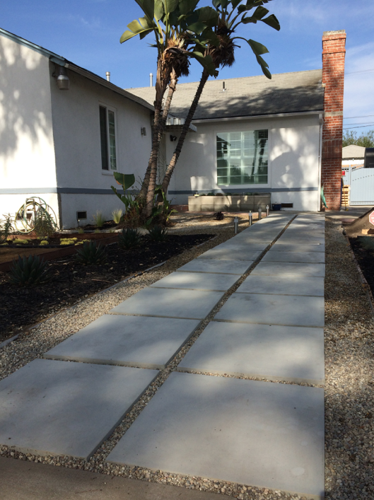 These are the pavers. They are 2ft x 2ft in size and cost $14 each. We bought them at  West LA Building Materials.