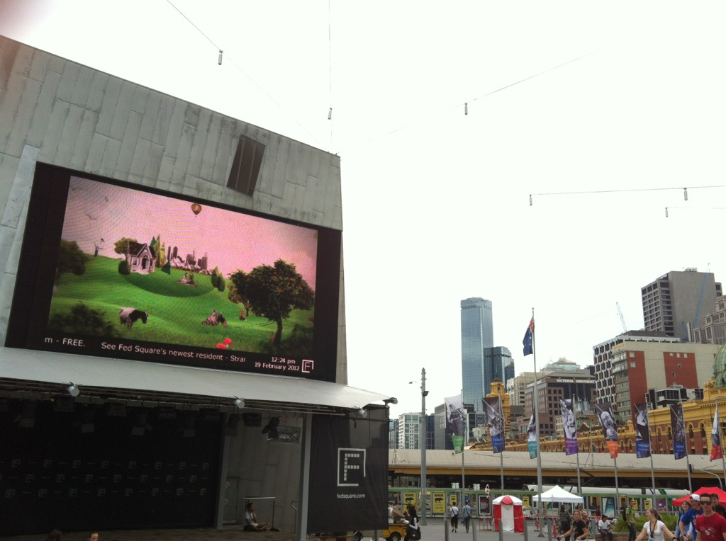 This is George screened at Melbourne's Federation Square and in  Sussex Lane Sydney during the greening of the laneway for 'Pop Sydney', and as part of the Eco Footprints Film Festival.