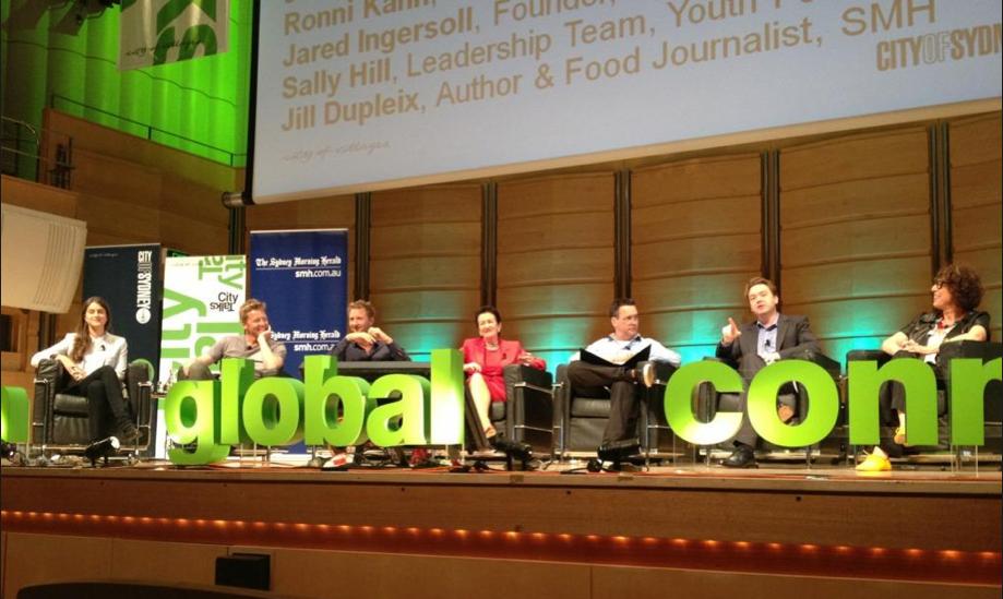 The City Talks panel including Joost Bakker, Justin Hemmes, Clover  Moore, Simon Marnie, David McWilliams,  Ronni Khan and Jill Dupleix