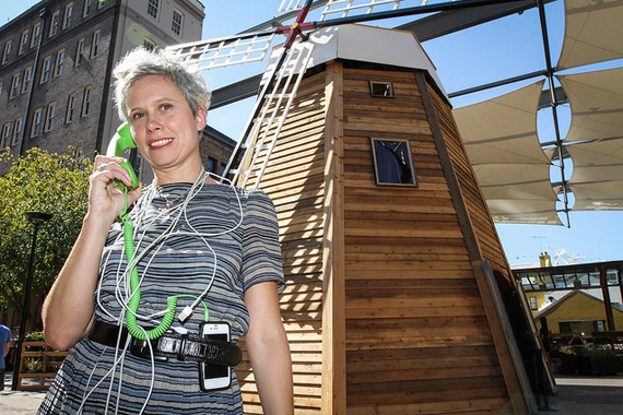 Jodi Newcombe in front of the Rocks Windmill where she held ElectriCITY Sparks - a week long program dedicated to uncovering creative ways to make a sustainable, energy-efficient future a reality.