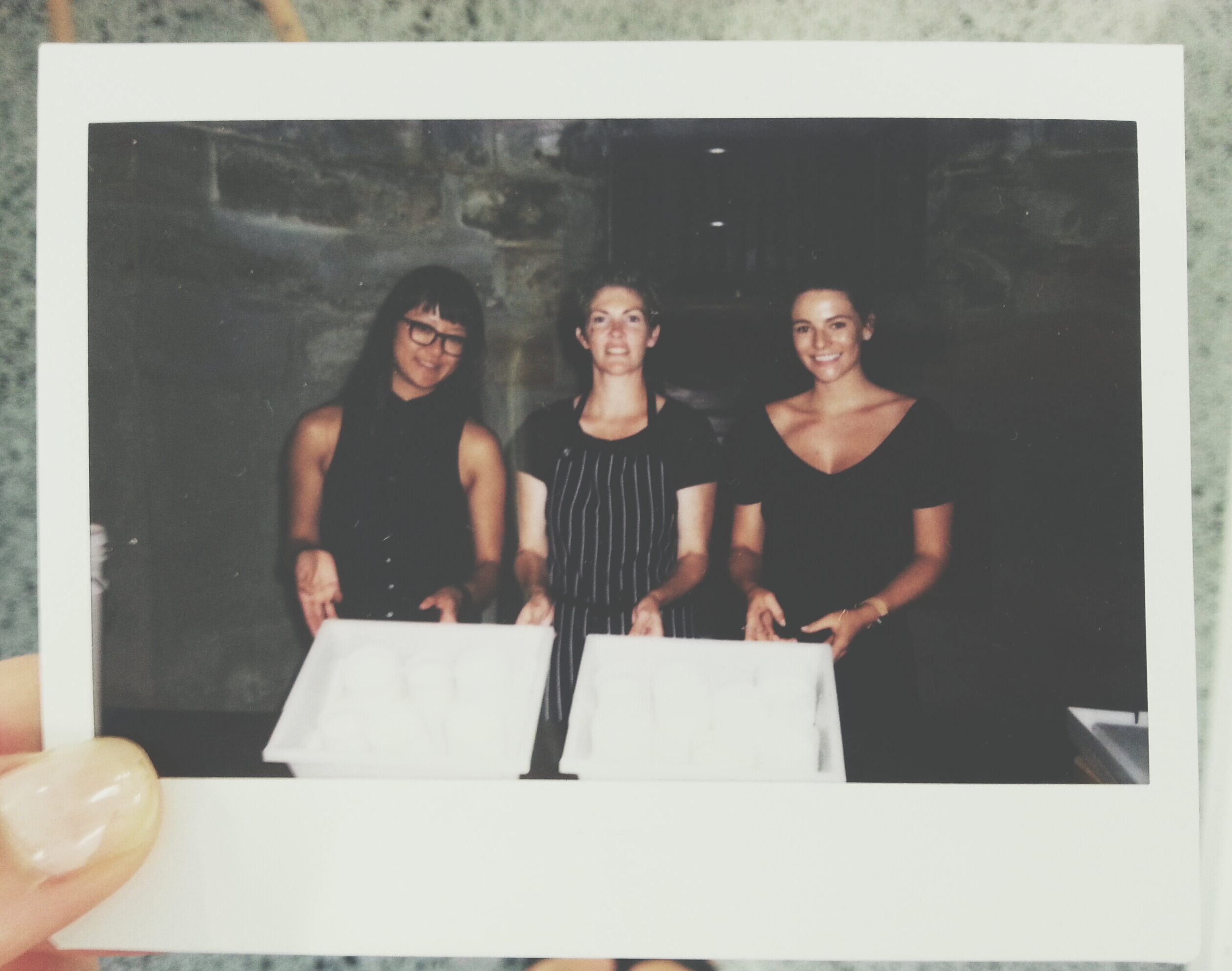 Polaroid: Von, Kristen Allan (artisan cheese maker) and I in the cellars of Elizabeth Bay House.