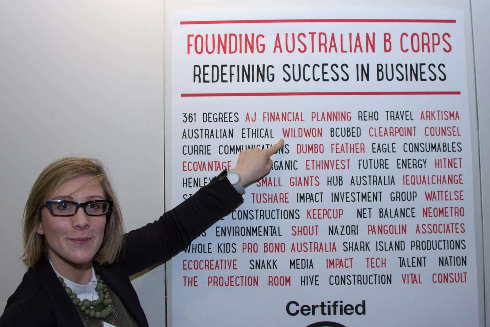 Bi at the Sydney launch of B Corps in Australia