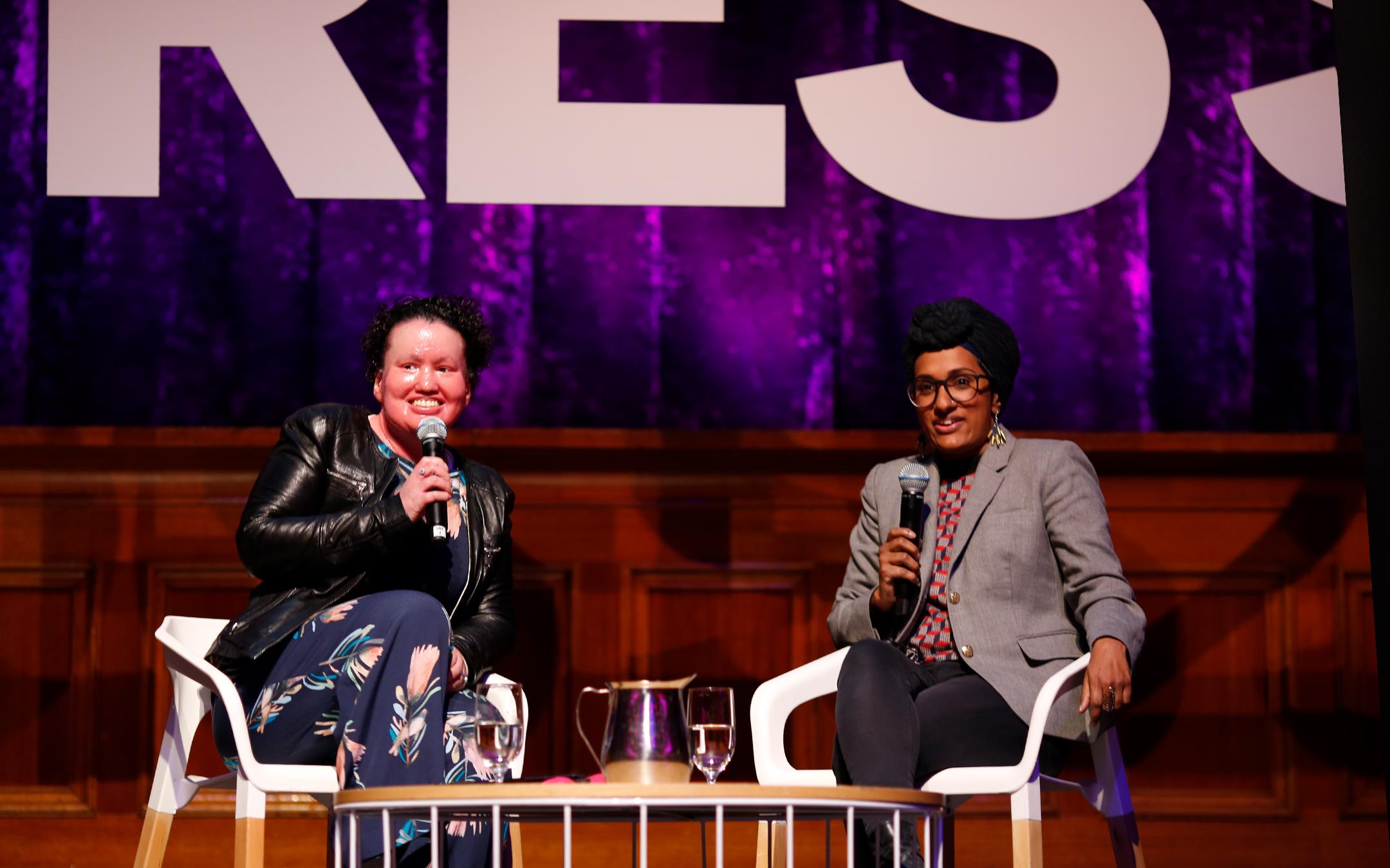 Carly Findlay and Shen Narayanasamy on stage