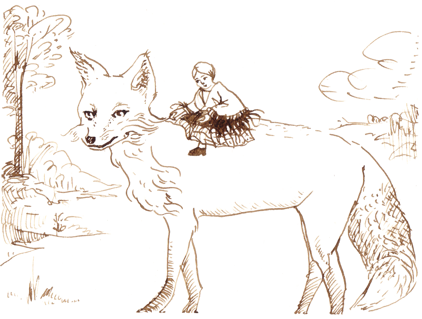 Fox and Doll, walnut ink, 6.2010