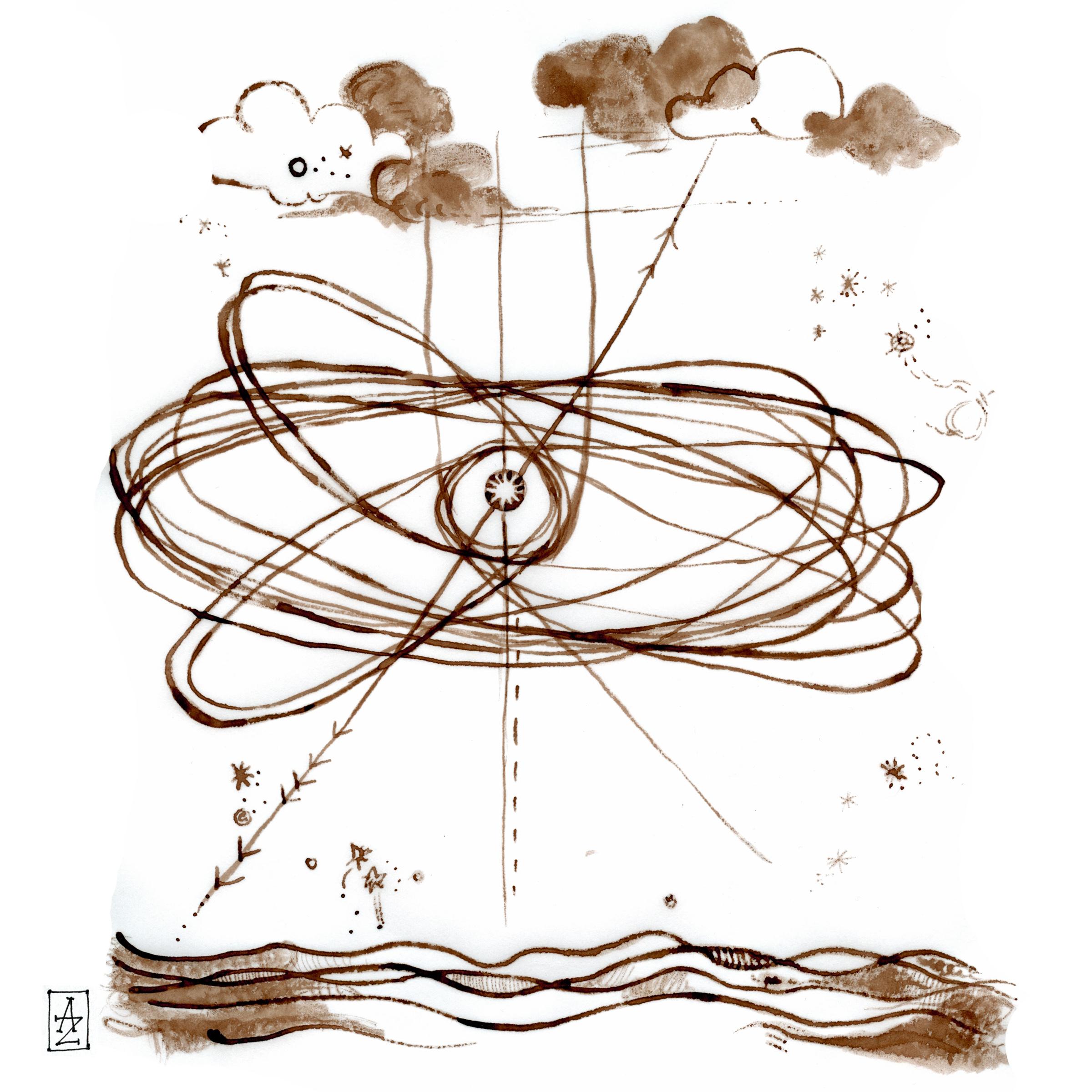orbits, walnut ink, 8.2013