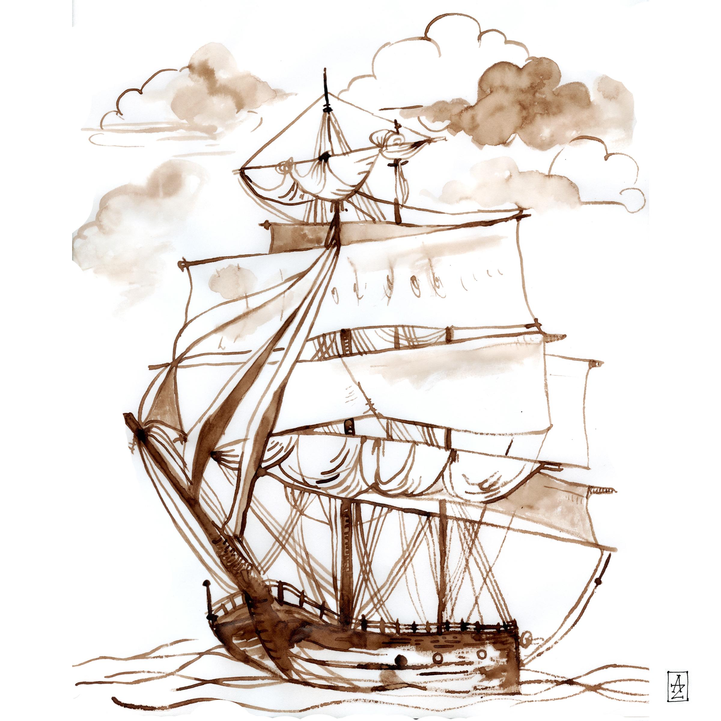 ship, walnut ink, 8.2013