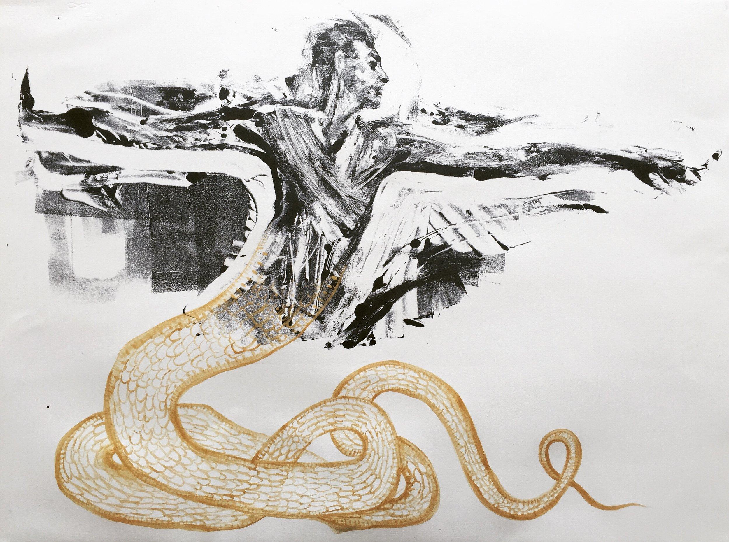 Monoprint, gold ink. 2017