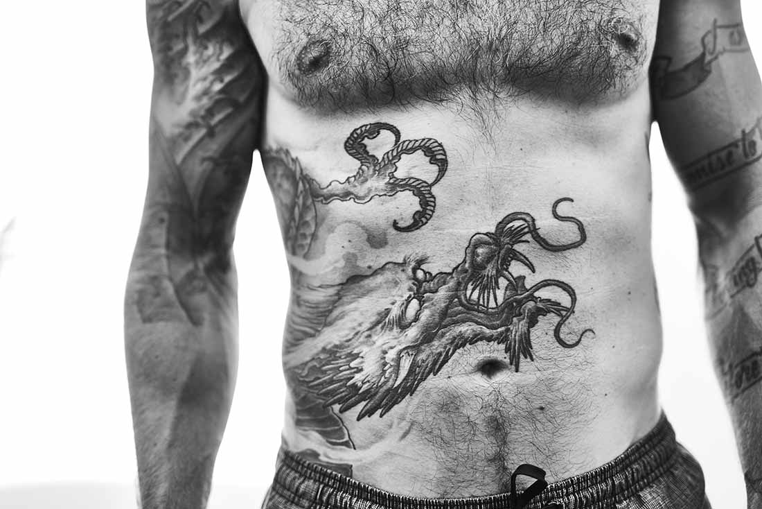 11 Gavan tattoo belly Ben Duffy Photography Black and white.jpg