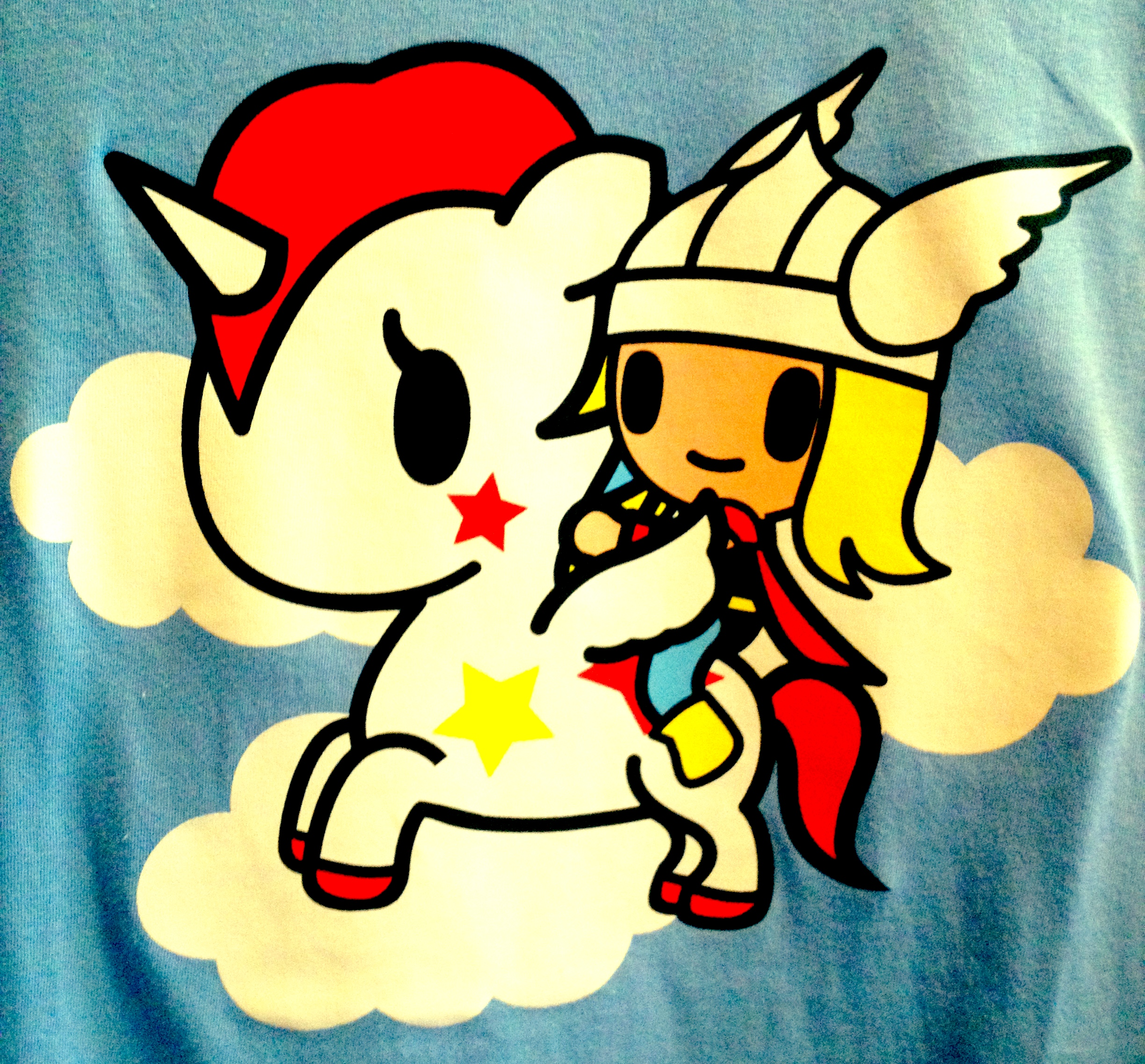 image courtesy tokidoki, you can by thor riding a unicorn on a teeshirt