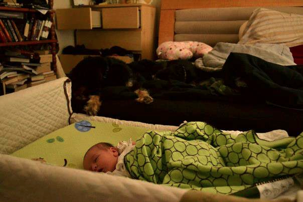 Nanna Charlotte, watching Daphne sleep