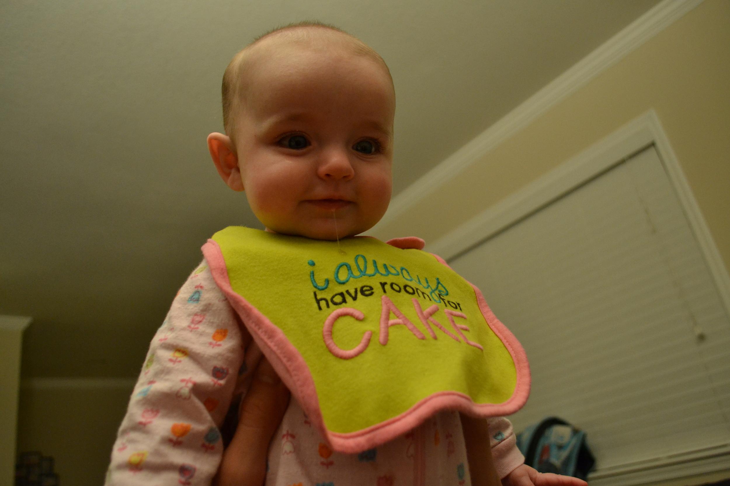 Carter's teething bib, catching some drool