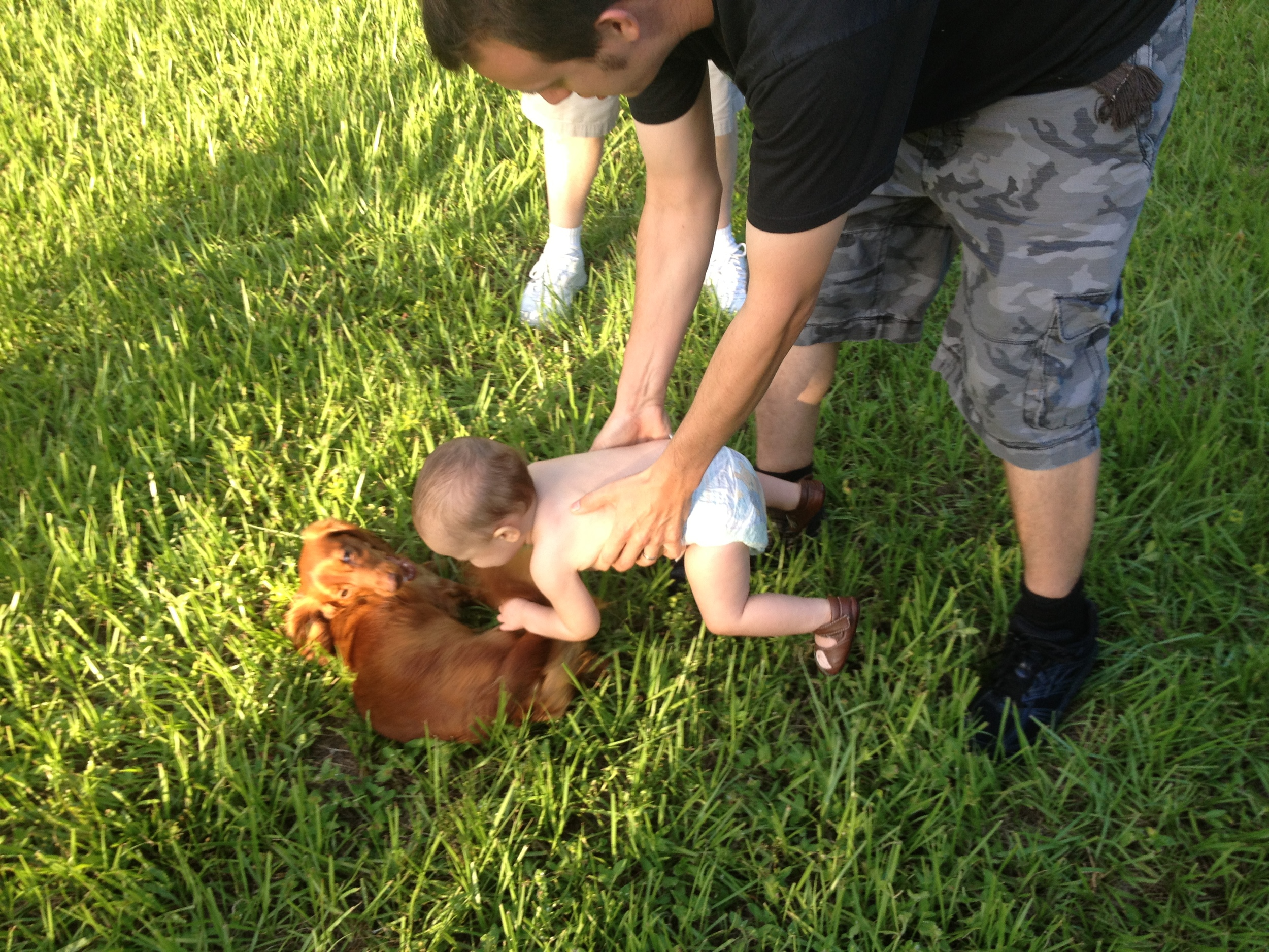 Flying Baby dog tackle!