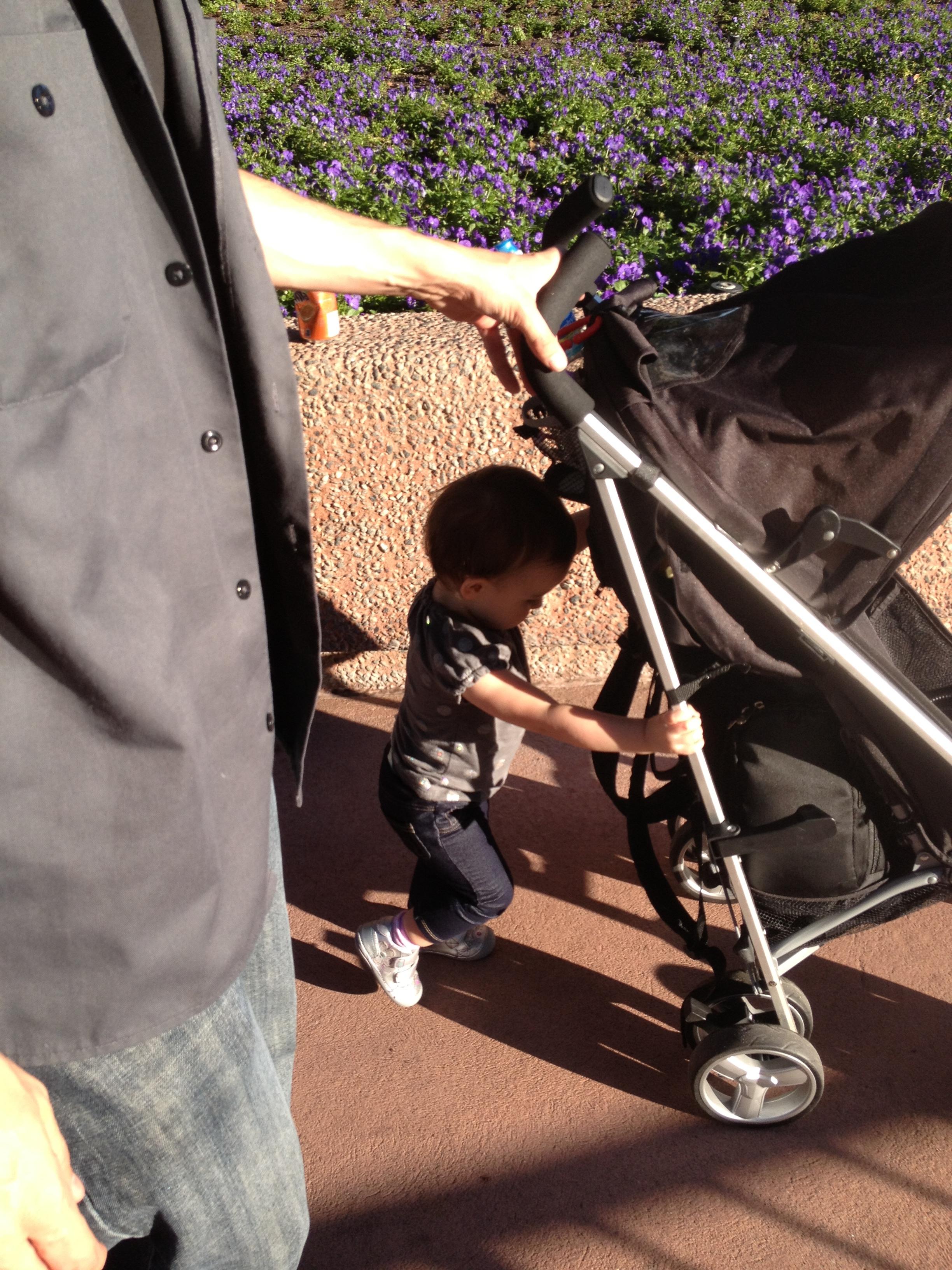 pushing her own stroller or nothing!