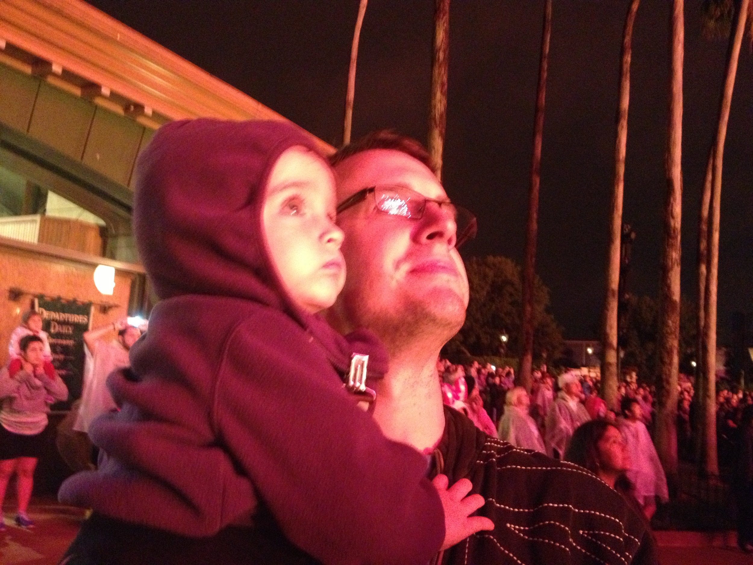 Watching Illuminations fireworks with Daddy