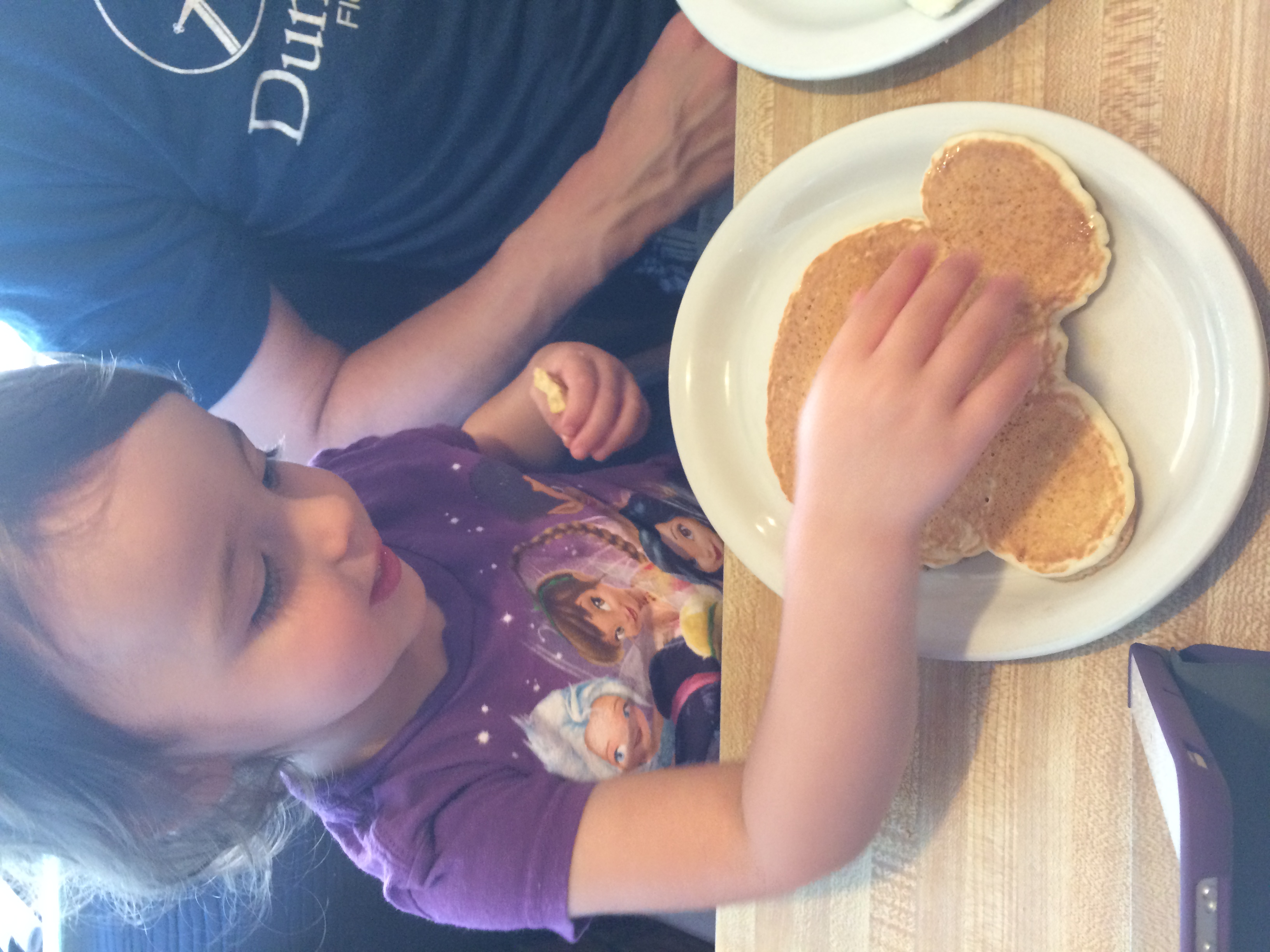 Mickey Mouse pancake at our local diner, Patsio's