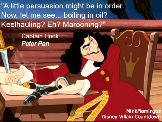"The way Hook says ""marooning"" is one of my favorite Disney Villain vocal moments of all time"