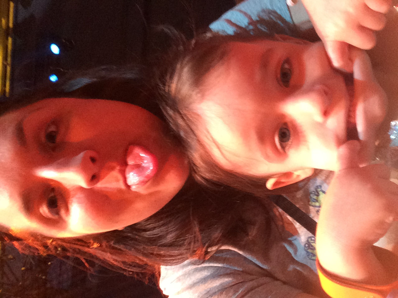 Making selfie faces waiting for the Disney Junior show