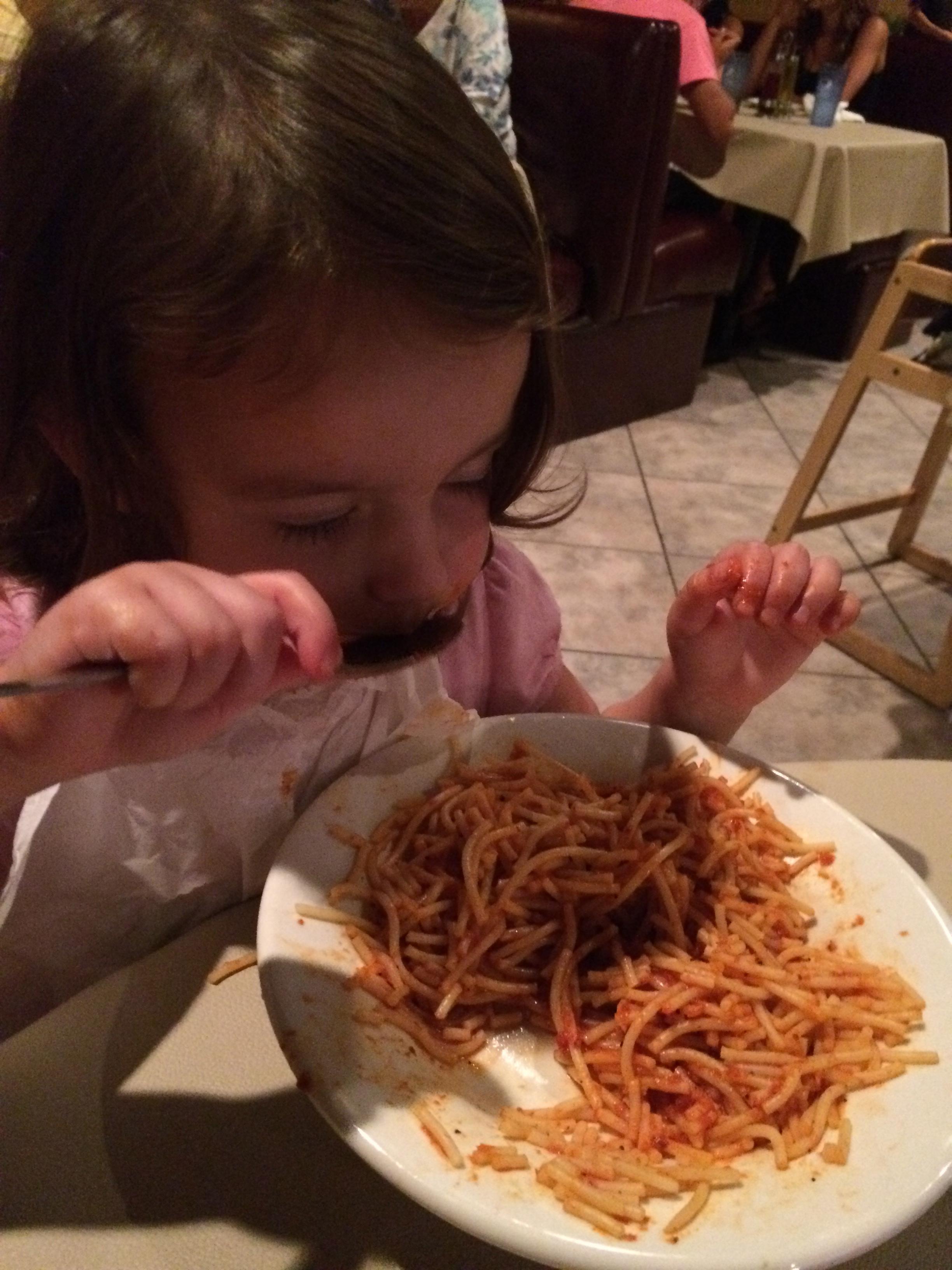 Eating Stefano's spaghetti