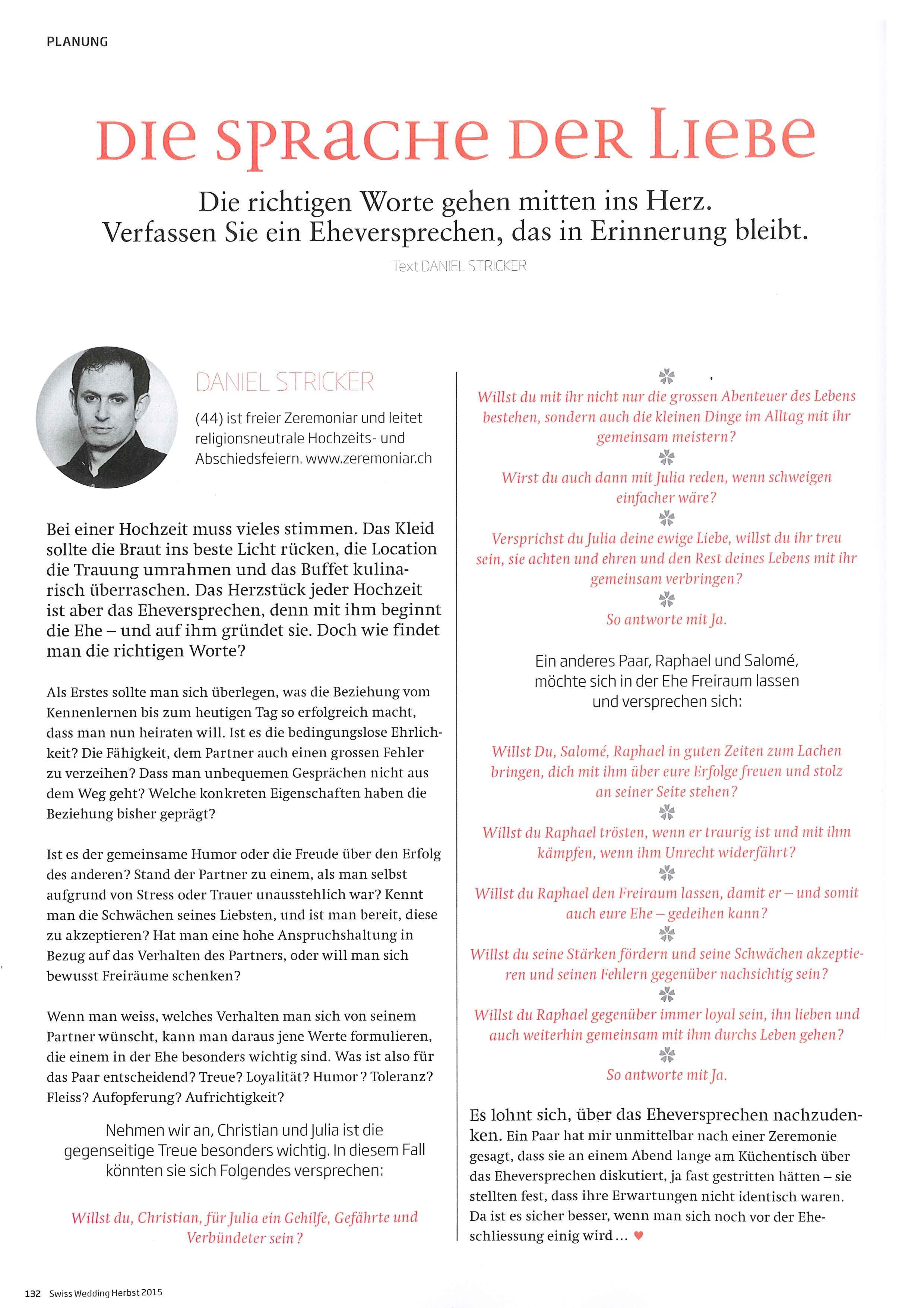 Erschienen in der Ausgabe 04/2015 von Swiss Wedding.