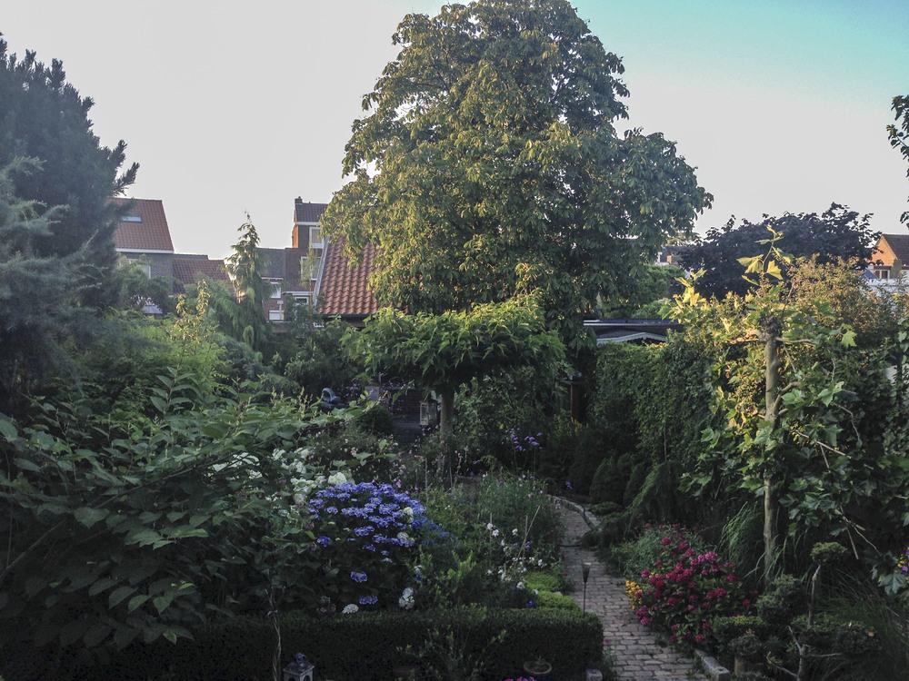 De prachtige tuin gezien vanuit de huidige eetkamer