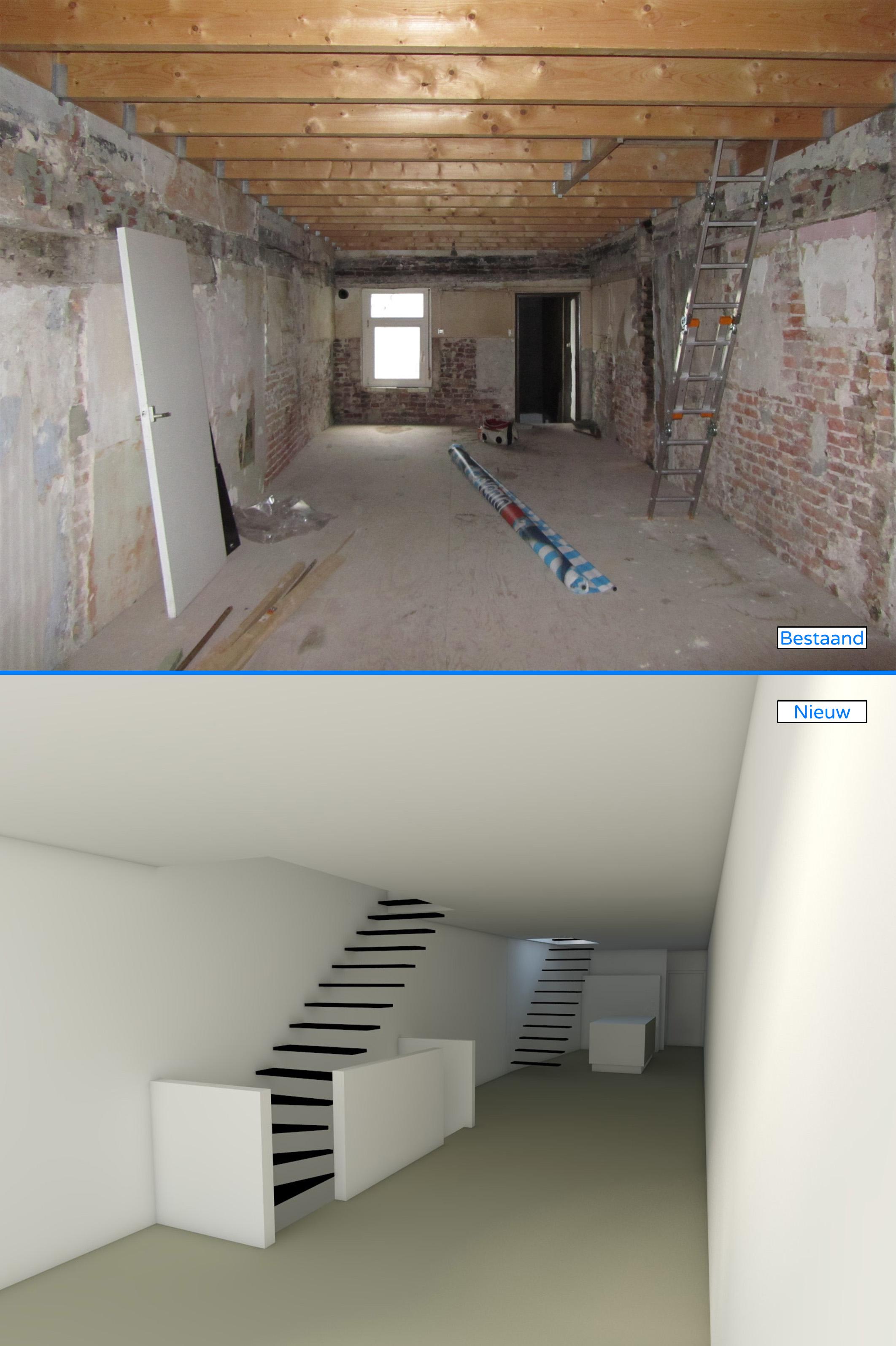 1e verdieping, woonkamer & keuken