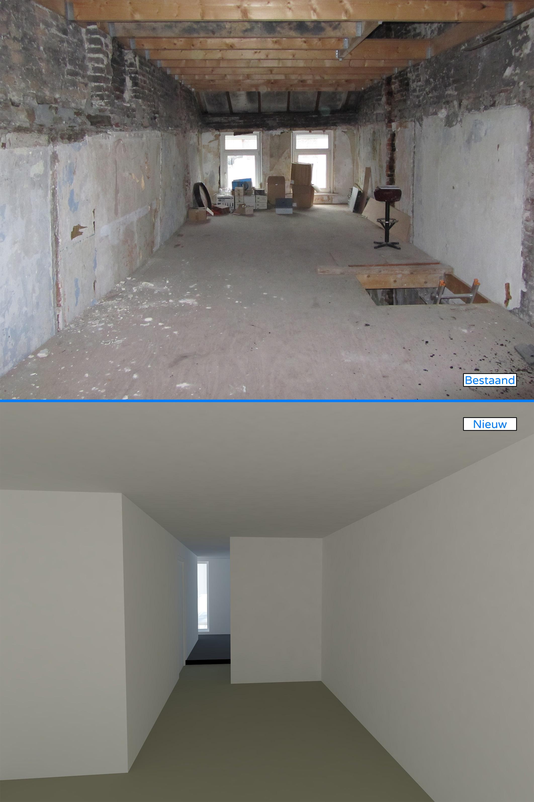 2e verdieping, zicht van slaapkamer naar badkamer