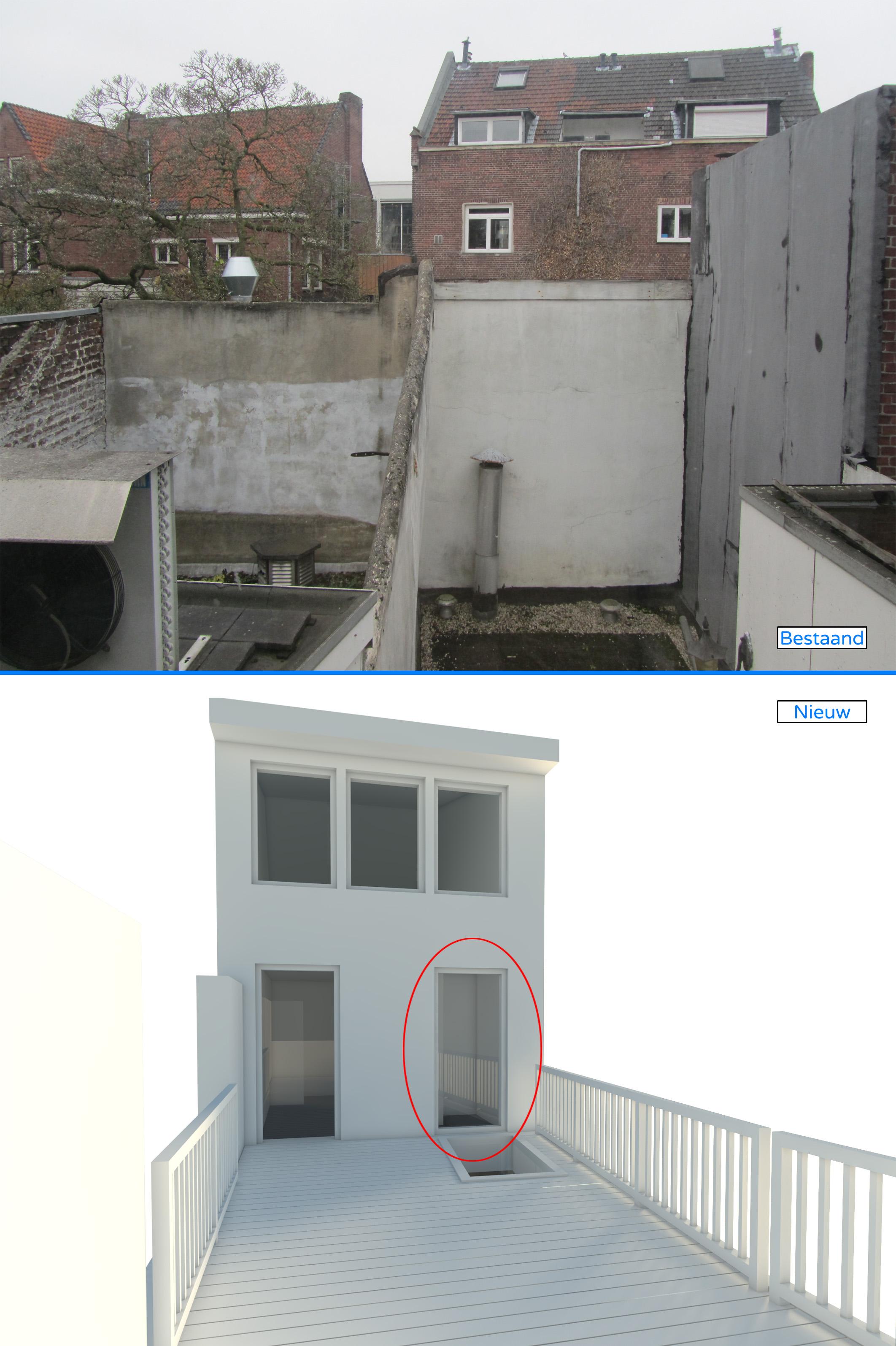 Nieuw terras boven keuken, uitzicht boven is vanaf rood omcirkeld raam in nieuwe situatie (beneden)
