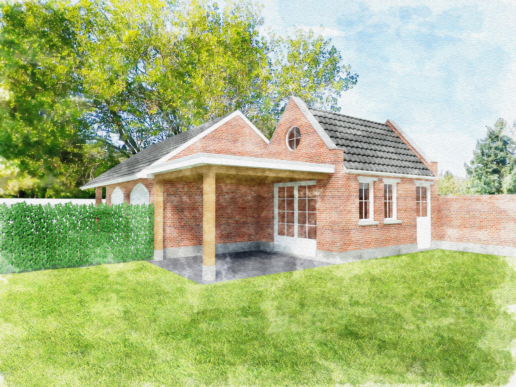 Nieuwbouw tuinhuis met overkapping