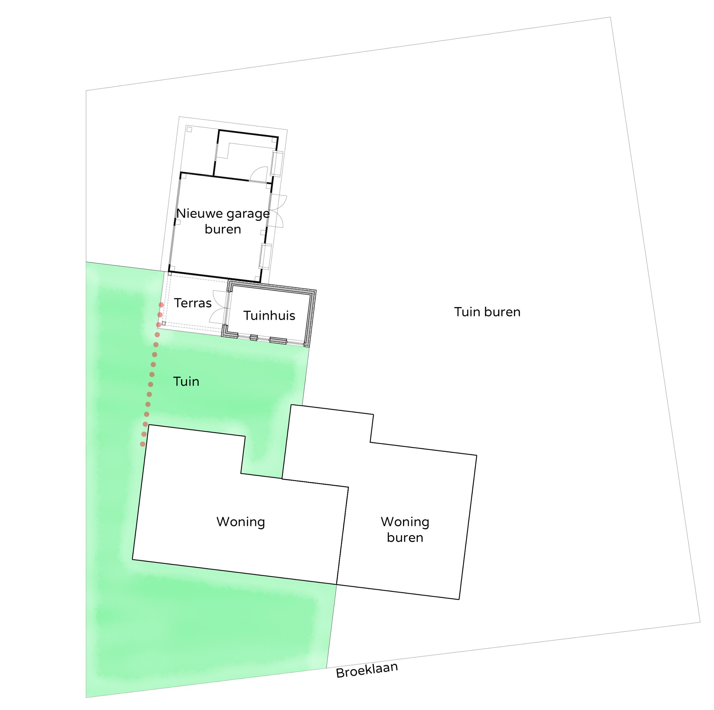 Plaatsing tuinhuis en overkapping t.o.v. woning en nieuwbouw buren (klik op afbeelding voor vergroting).