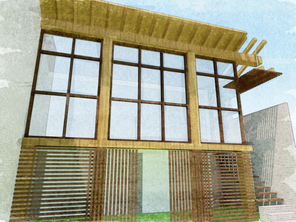 Een impressie van de aanbouw aan de achterzijde van het woonhuis