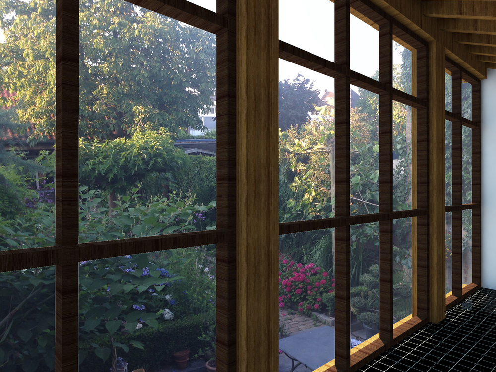 Door de toepassing van zoveel mogelijk glas en hout, krijg je op de begane grond het gevoel dat je je in de tuin bevindt