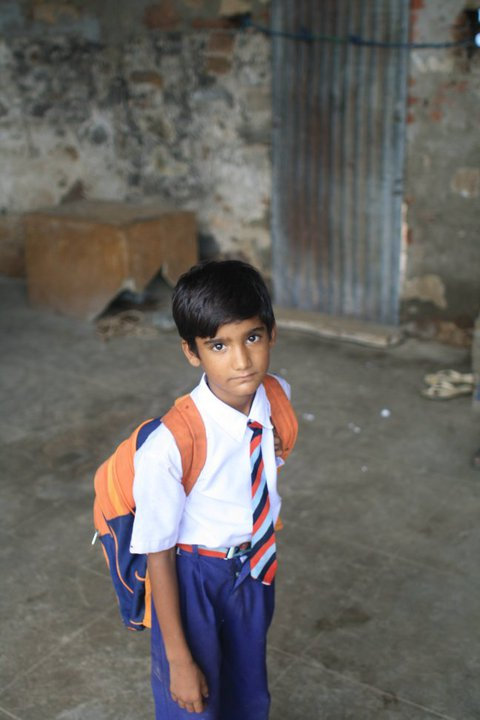 Indian boy going to school