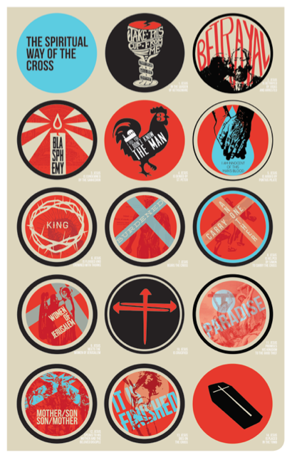 The above poster is a second iteration of the Stations of the Cross by Scott Erickson, this time as a graphic design project.  Click here for a free PDF download  of the station illustrations and scriptures that accompany them.
