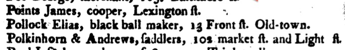The Baltimore Directory, for 1799...    John Mullin. Baltimore: Warner & Hanna, 1799.  p. 54