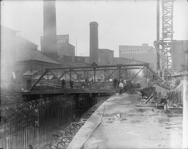 Bath Street Bridge, ca. 1910-1914, unknown photographer. This view is from the south, so the site of Hanson's mill would be in the left side of the view. Photo:Maryland Historical Society.