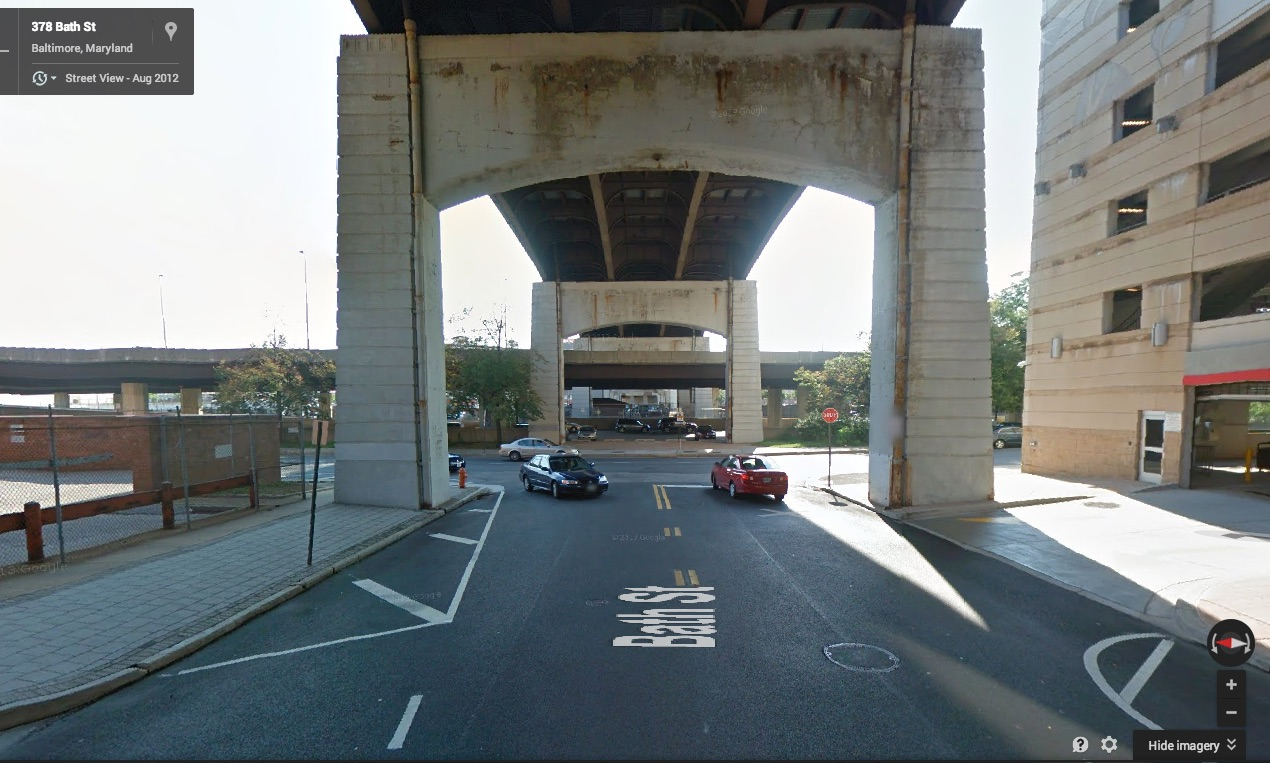 Bath Street, looking east toward Guilford Ave. Photo: Google Street View.