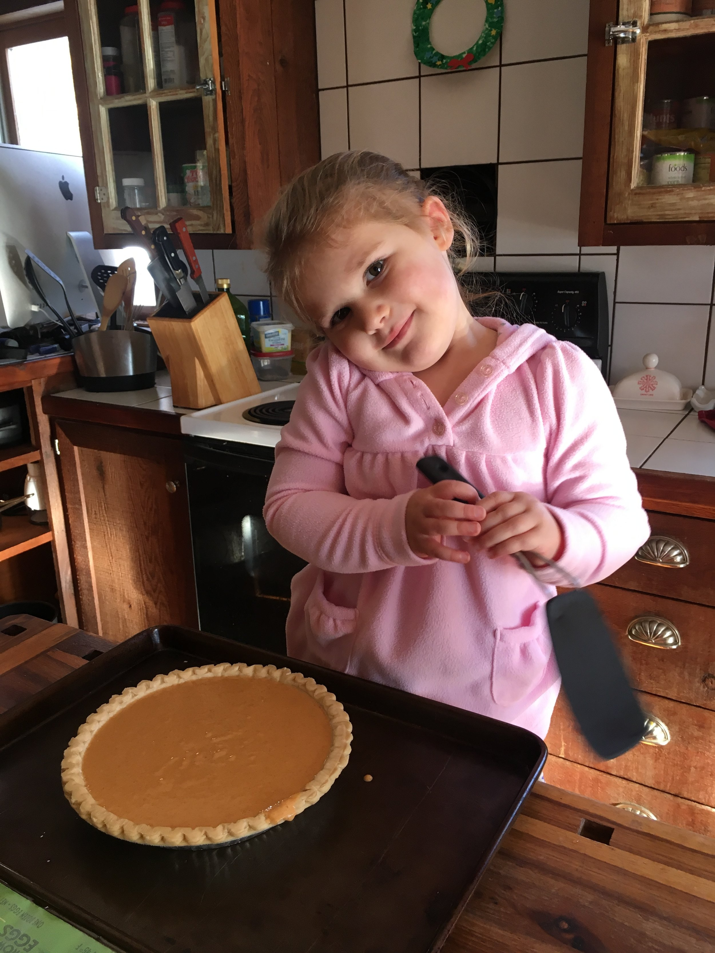My little helper and our Christmas pumpkin pie