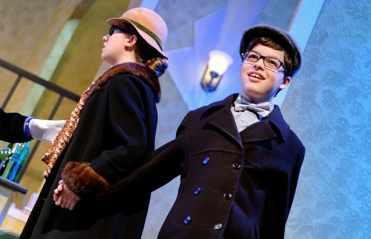 Jennifer Bissell as Agnes Gooch andJD Triolo as Young Patrick in  Mame