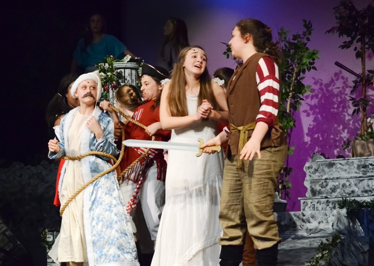 Laura Tobar (second from right) as Mabel in  Pirates of Penzance Jr.  (photo: Karen Mosimann)