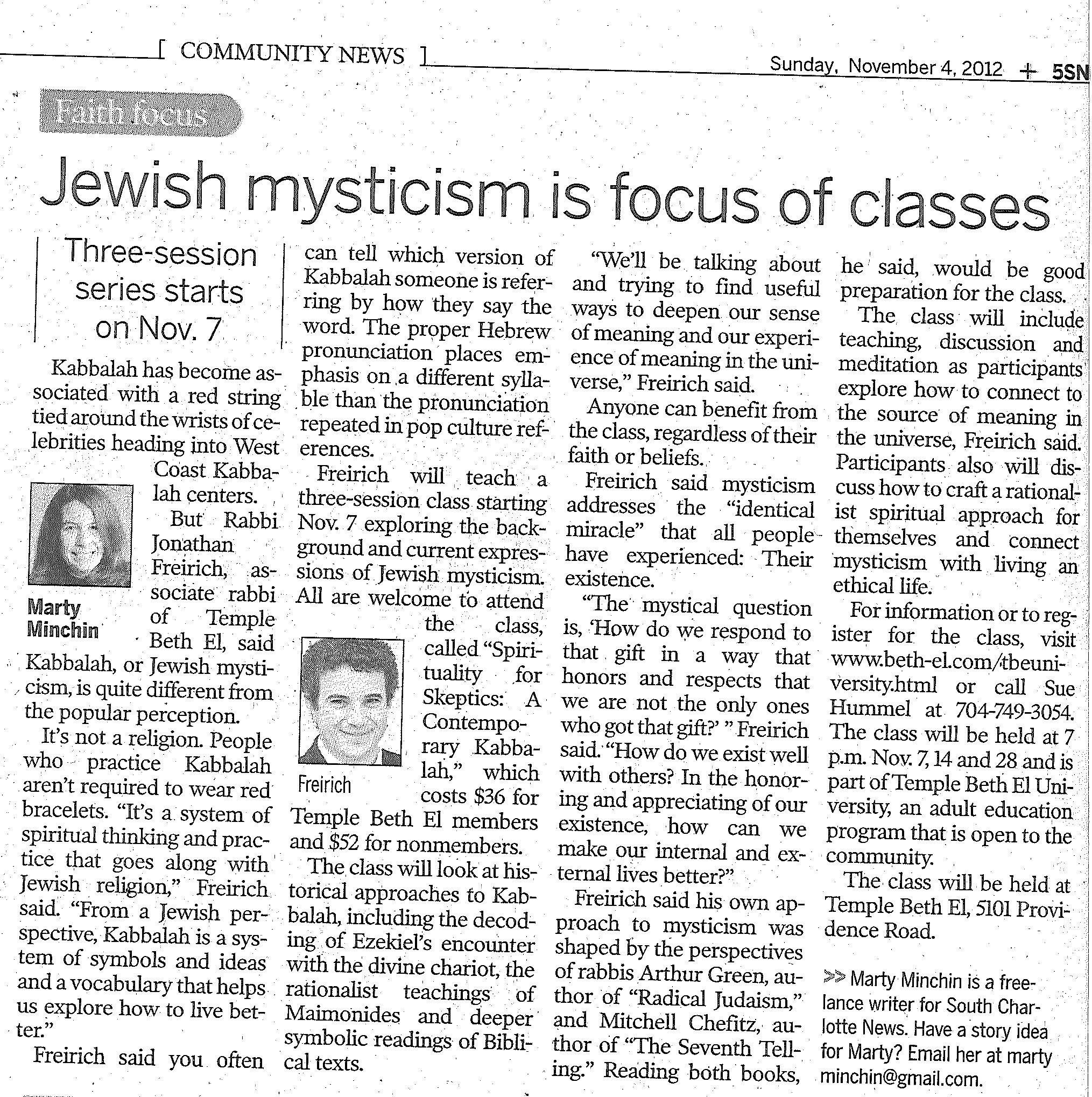 Charlotte Observer covers Jewish mysticism class