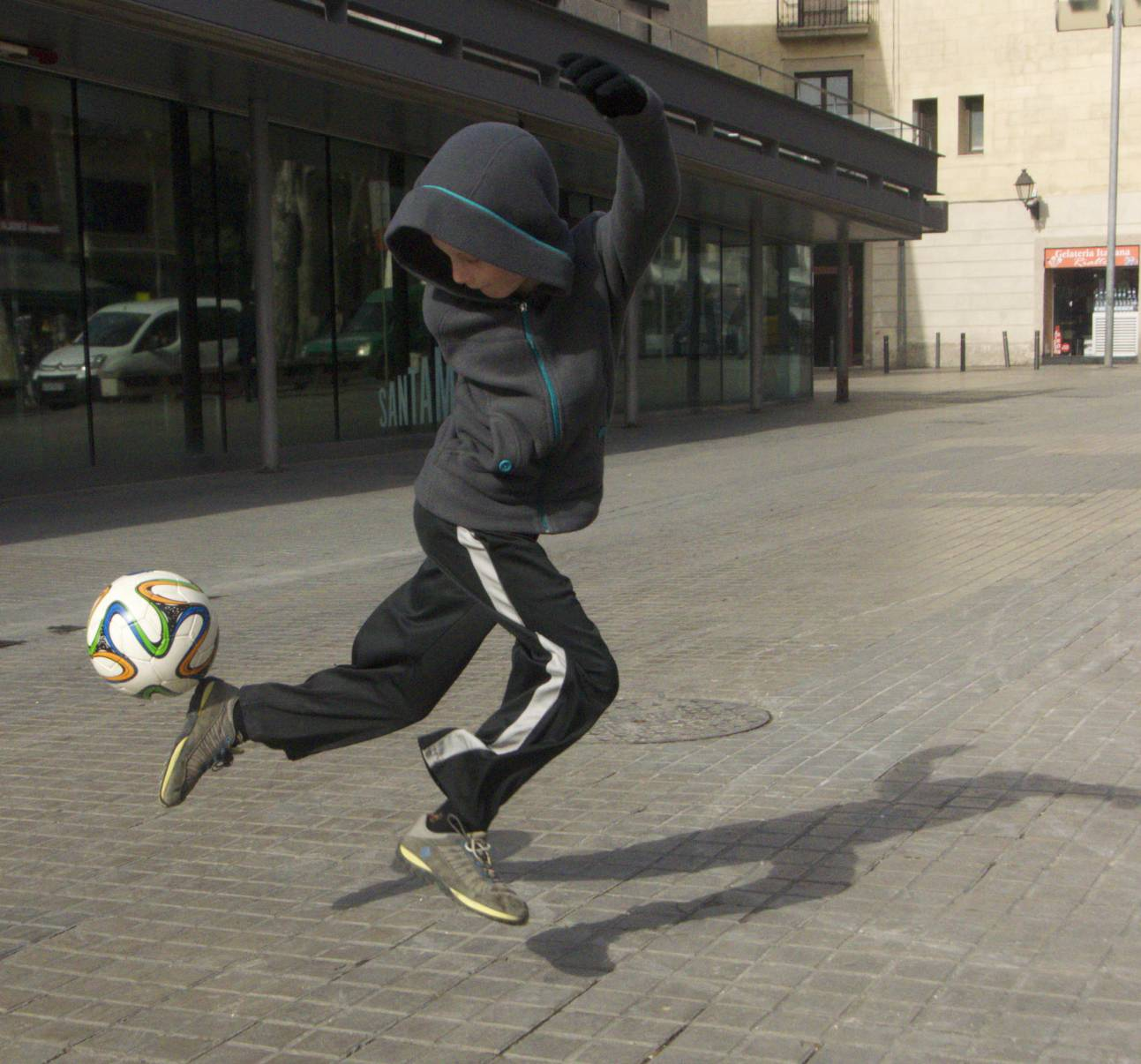 Isaac practicing his moves in Barcelona.