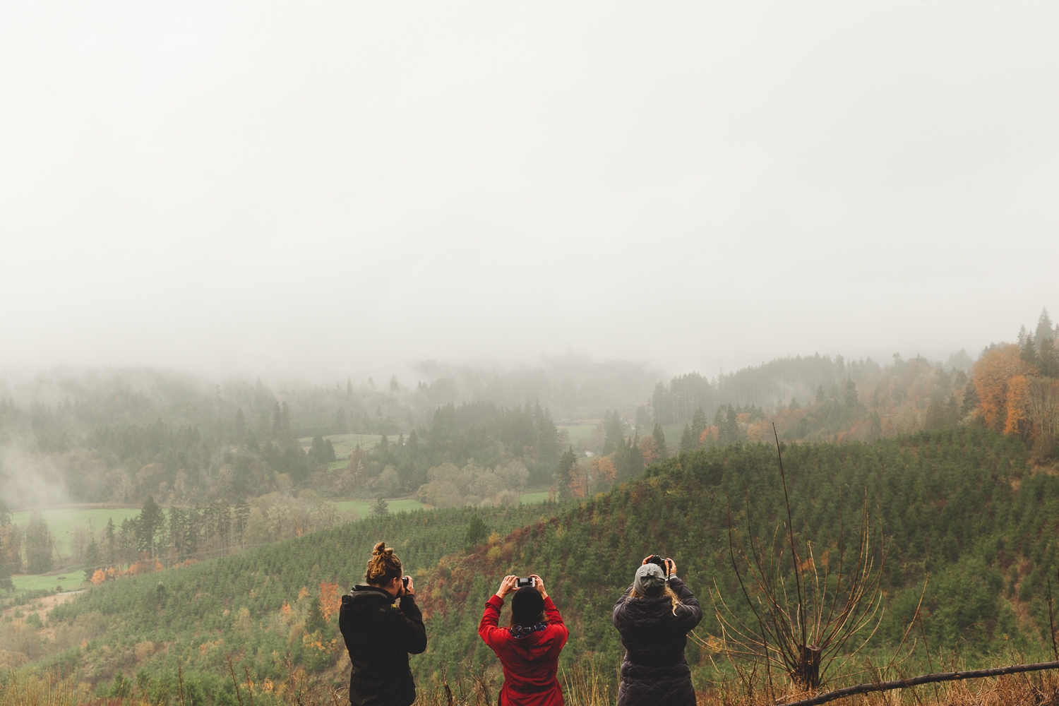 Annelien Nijland, Katie Kett and Lina Kiznyte shooting in the foggy hills of the washington coast