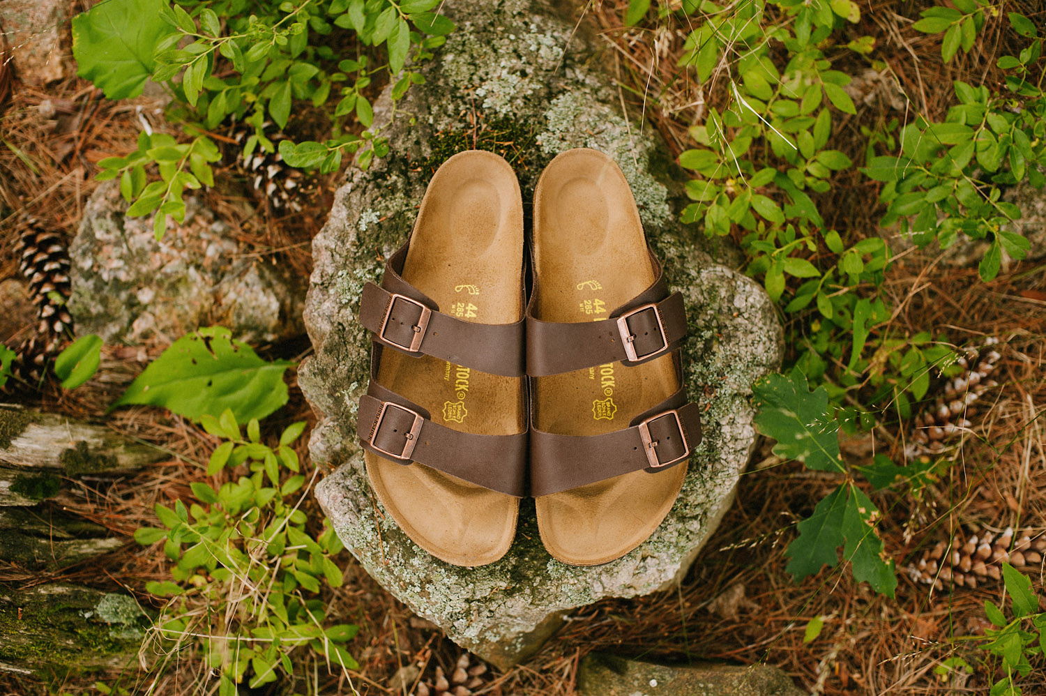 groom's birkenstocks for Muskoka camp wedding