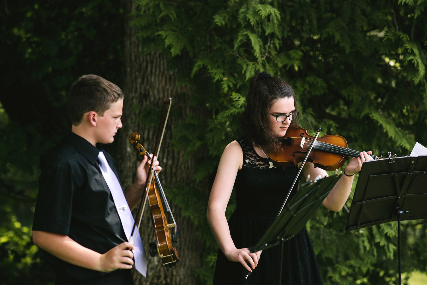 Live music for processional at outdoor wedding