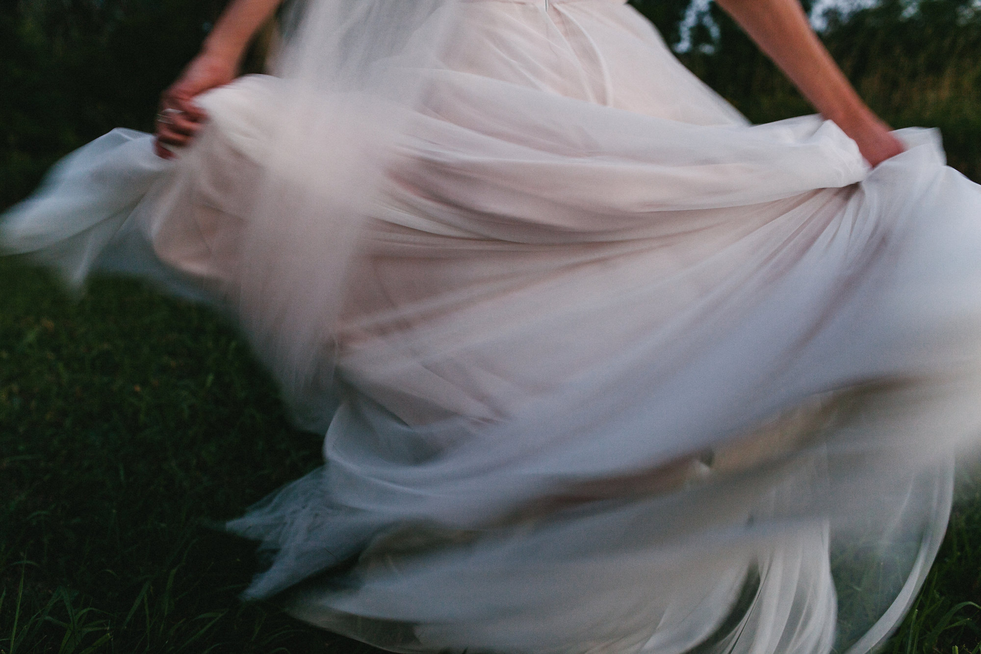 Swirling wedding dress