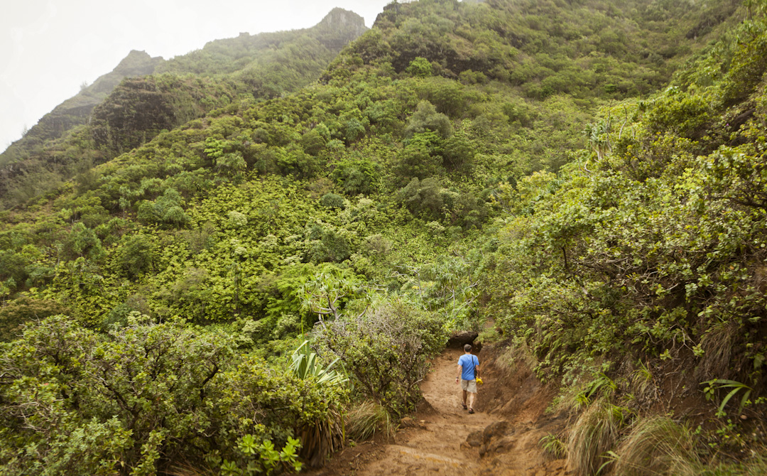 Mark hiking the Kalalau Trail, Kauai